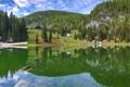 Картинка лес, небо, деревья, горы, озеро, дом