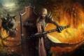 Картинка девушка, огонь, блондинка, щит, Diablo 3, Reaper of Souls, Crusader