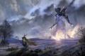 Картинка лук, фантастика, небо, море, деревья, воин, титан