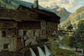 Картинка долина, живопись, горы, здание, река, дом, картина