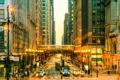 Картинка Вечер, Огни, Улица, Люди, Чикаго, Фонари, Движение