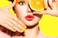 Картинка взгляд, девушка, желтый, ресницы, фон, лимон, макияж