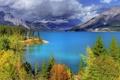 Картинка небо, облака, горы, озеро, Лес