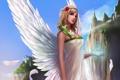 Картинка девушка, цветы, город, скалы, магия, рука, крылья