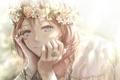 Картинка девушка, цветы, улыбка, аниме, арт, венок, nuwanko