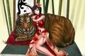 Картинка девушка, тигр, бамбук, арт, подушка, иероглиф, ytoy