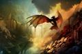 Картинка небо, облака, замок, дракон