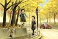 Картинка дорога, машина, осень, кот, листья, радость, девушки