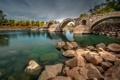 Картинка деревья, река, камни, Франция, Римский мост, Лангедок-Руссильон