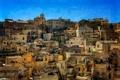 Картинка небо, гора, дома, склон, Италия, Базиликата, Матера