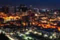 Картинка город, огни, дома, фонари, США, ночной, улицы