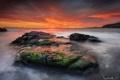 Картинка море, небо, закат, природа, камни, выдержка