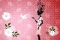 Картинка девушка, рисунок, вектор, girl, цветочки