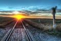 Картинка пейзаж, закат, железная дорога