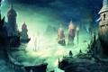 Картинка мост, фигура, пропасть, Prince of Persia, art, минареты