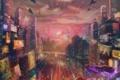 Картинка город, будущее, река, транспорт, корабли, небоскребы, арт