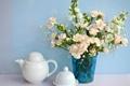 Картинка чашка, голубой, цветы, белый, чайник