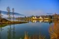 Картинка горы, город, туман, река, фото, Германия, Sinsheim