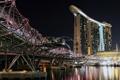 Картинка мост, огни, вечер, отель, сингапур