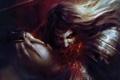 Картинка взгляд, злость, кровь, волосы, голова, доспехи, укус
