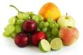 Картинка ягоды, яблоки, апельсин, виноград, лайм, фрукты, сливы