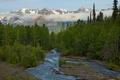 Картинка лес, деревья, горы, река, Аляска