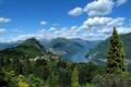 Картинка деревья, горы, парк, Швейцария, Switzerland, Lake Lugano, Ticino
