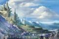 Картинка лес, облака, горы, город, башня, королевство