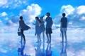 Картинка небо, вода, облака, радость, отражение, девушки, шляпа