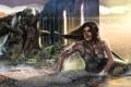 Картинка девушка, дождь, Tomb Raider, крофт, лара