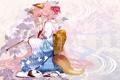 Картинка девушка, цветы, аниме, хвост, кимоно, ушки