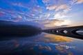 Картинка небо, облака, деревья, закат, мост, туман, отражение