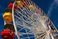 Картинка небо, желтый, красный, парк, отдых, развлечения, колесо обозрения