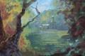 Картинка деревья, цветы, дом, арт, нарисованный пейзаж
