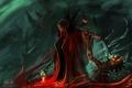 Картинка магия, кровь, демон, арт, плащ, Randy Toroni, Mage of Death