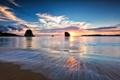 Картинка пляж, закат, скалы, залив, JAPAN, Iriomote, Yaeyama