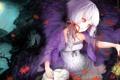 Картинка листья, вода, абстракция, луна, кролик, девочка