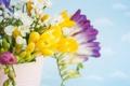 Картинка листья, бутоны, цветы, букет, ваза