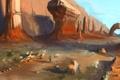 Картинка рыбы, скалы, пустыня, человек, арт