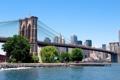 Картинка мост, город, дома, Нью-Йорк, небоскребы, залив