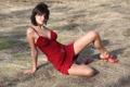 Картинка платье, красное, девушка, Emanuel A