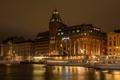 Картинка ночь, город, река, фото, дома, Швеция, Stockholm
