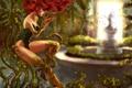 Картинка девушка, растения, размытость, арт, рыжая, лианы