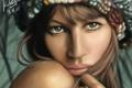 Картинка взгляд, девушка, лицо, портрет, художник, графический планшет, felipe kimio