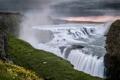 Картинка река, скалы, водопад, природа, зелень, дымка, цветы