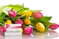 Картинка любовь, букет, тюльпаны, бант, flowers, romantic, tulips