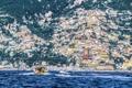 Картинка море, горы, дома, яхта, катер, Италия, Позитано