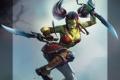 Картинка Garona, девушка, кинжалы, клинки, прыжок, World of Warcraft Tribute, арт