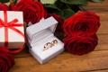 Картинка roses, розы, romantic, gift, ring, кольца, красные