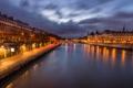 Картинка облака, река, париж, небо, сена, ночь, Paris